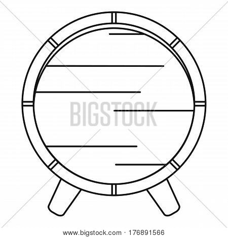 Wooden barrel on rack icon. Outline illustration of wooden barrel on rack vector icon for web
