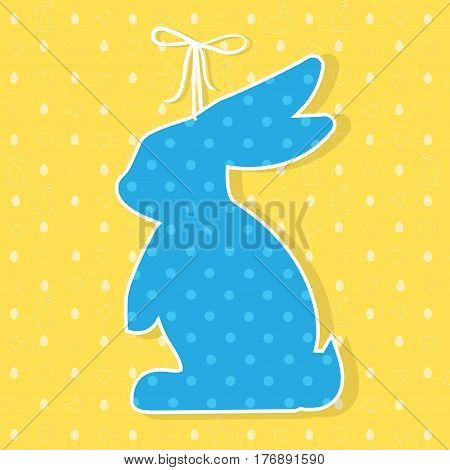 Easter paper decoration in the form of bunny. Easter bunny and seamless pattern with holiday symbols rabbits, eggs, birds, hearts, butterfly for invitations, posters and easter cards