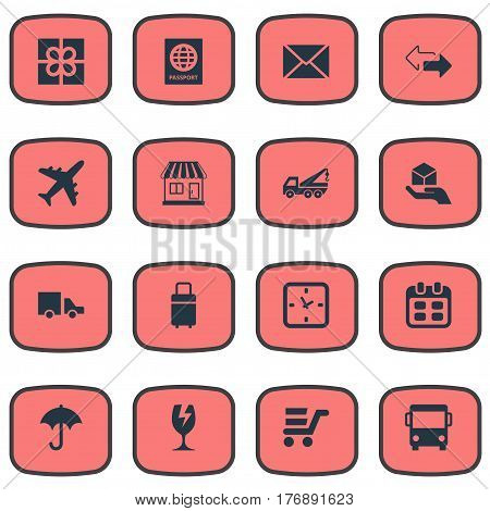 Vector Illustration Set Of Simple Conveyance Icons. Elements Day, Gift, Van And Other Synonyms Present, Travel And Ribbon.