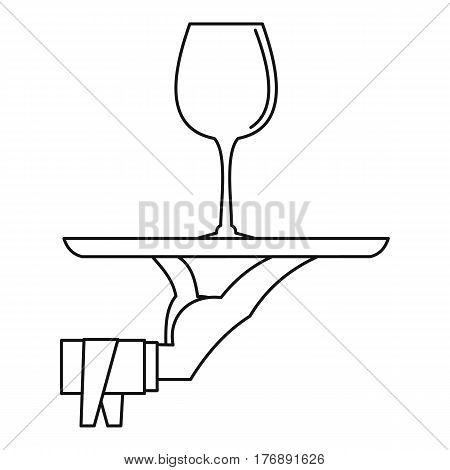 Hand of waiter with tray icon. Outline illustration of hand of waiter with tray vector icon for web