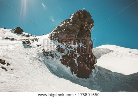 Rocks of Lenz Elbrus Mountain north side landscape mountains Landscape climbing Travel view serene scenery wild nature calm scene