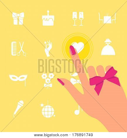 Hand clicks on the screen with icons. The finger points to icons. Woman chooses and thinking. Choose concept and Icons set for holiday and entertainment. Minimalistic design for web site, mobile app