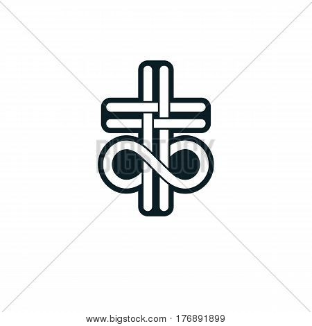 Immortal God Conceptual Logo Design Combined With Infinity Loop Sign And Christian Cross, Vector Cre