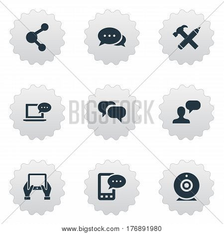 Vector Illustration Set Of Simple User Icons. Elements Argument, E-Letter, Man Considering And Other Synonyms Tablet, Debate And Broadcast.