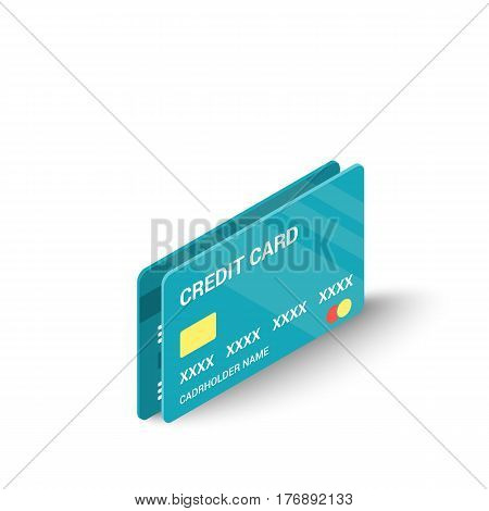 Blue credit cards icon. Isometric 3d illustration of blue credit cards vector icon for web