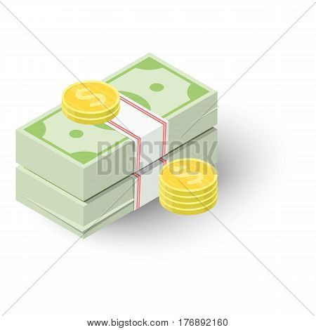Two stacks of money and coins icon. Isometric 3d illustration of two stacks of money and coins vector icon for web