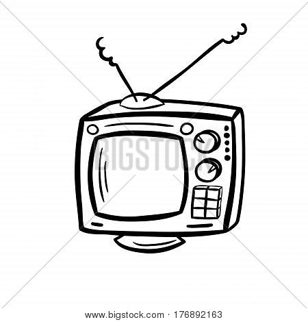 Retro TV, doodle, sketchy style. Hand drawn vector illustration isolated on white.
