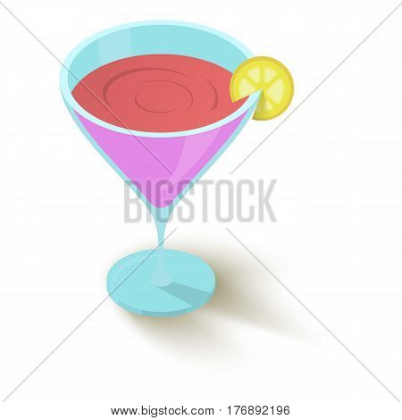 Cocktail with a slice of lemon icon. Isometric 3d illustration of cocktail with a slice of lemon vector icon for web