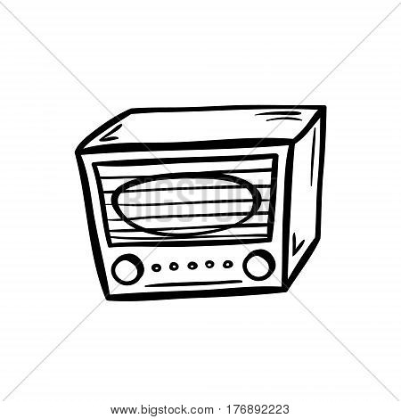 Retro radio in doodle style. Hand drawn vector illustration isolated on white.
