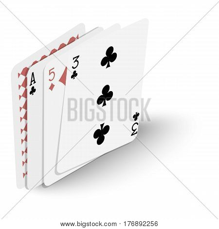 Playing cards icon. Isometric 3d illustration of playing cards vector icon for web