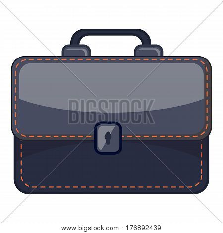 Black briefcase icon. Cartoon illustration of black briefcase vector icon for web