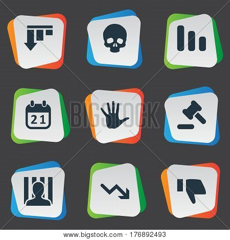 Vector Illustration Set Of Simple Crisis Icons. Elements Agenda, Line Chart, Tribunal And Other Synonyms Arrow, Palm And Hammer.