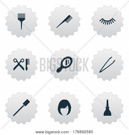 Vector Illustration Set Of Simple Beauty Icons. Elements Pincers, Crest, Barbershop And Other Synonyms Coloring, Eyebrow And Bottle.