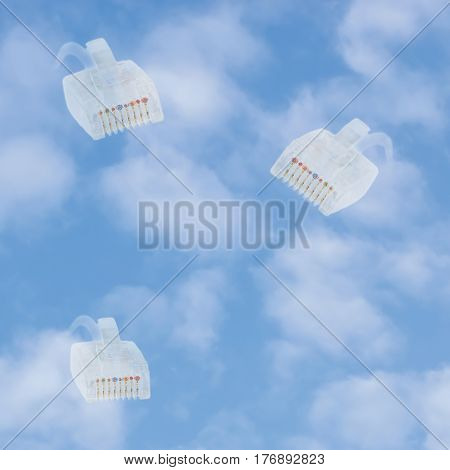 Cloud computing storage data security concept metaphor bright blue summer sky cloudscape vertical background multiple ethernet lan cables connection plugs white clouds