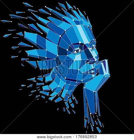 Smart person and mind concept human head exploding and breaks into multiple fractures.3d vector illustration of thoughtful woman face created in low poly modernized style and with lines mesh.
