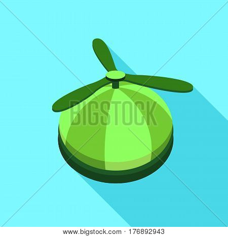 Green propeller hat icon. Flat illustration of green propeller hat vector icon for web