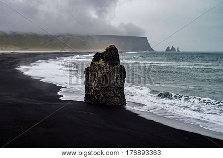 Rocks of Dyrholaey at the ocean in Iceland
