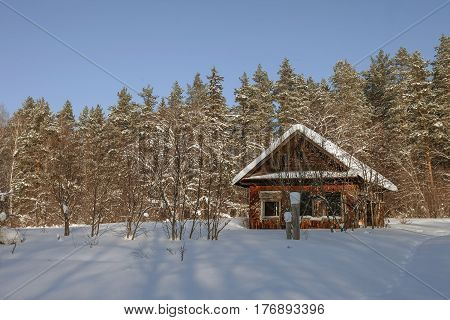 Abandoned Wooden House In Winter Forest