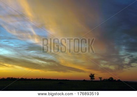 Bright Colorful Sky With Clouds At Sunset