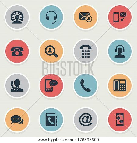 Vector Illustration Set Of Simple Connect Icons. Elements Postal, House Phone, Speaking Human And Other Synonyms Man, Phone And Outgoing.