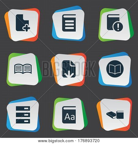 Vector Illustration Set Of Simple Reading Icons. Elements File Loading, Love Affair, Stack And Other Synonyms Reading, Downloading And Text.