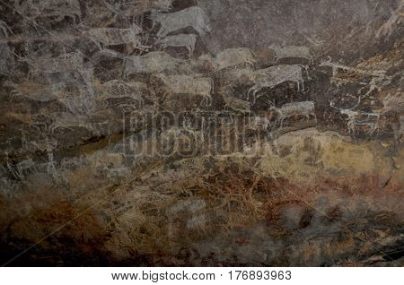 Bhimbhetka Rock Shelters, Raisen, Madhya Pradesh, India- January 22, 2016: Rock Shelter No. III C-50 or Rock Zoo Unesco World Heritage Site exhibiting the earliest traces of human life in Indian subcontinent at raisen, india.
