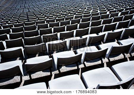 Close Up Of Empty Seats In Stadium