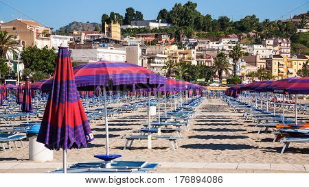 Beach Of Giardini Naxos Town In Summer Morning