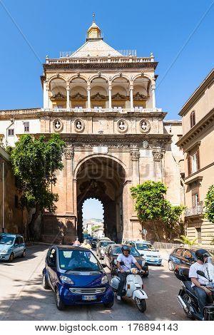 Street Traffic Near Porta Nuova In Palermo City