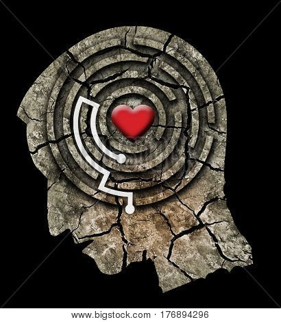 Love Yourself Concept. Stylized male head silhouette with a heart in a maze. Photo-montage with Dry cracked earth.