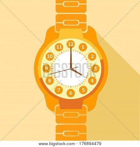 Orange wrist watch icon. Flat illustration of orange wrist watch vector icon for web