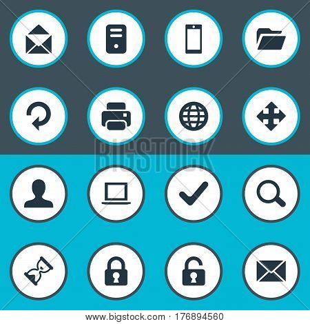 Vector Illustration Set Of Simple Application Icons. Elements Open Padlock, Message, Computer Case And Other Synonyms Arrow, Globe And Printer.