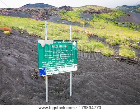 Road Sing About Area Of Natural Pak On Etna Mount