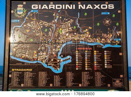 City Map Of Giardini Naxos Town On Urban Beach