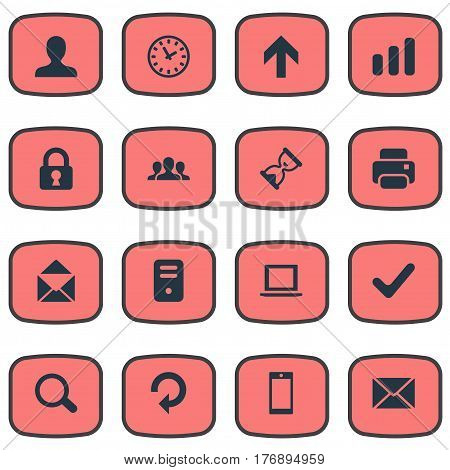 Vector Illustration Set Of Simple Application Icons. Elements Magnifier, Computer Case, Upward Direction And Other Synonyms Closed, Cellphone And Smartphone.