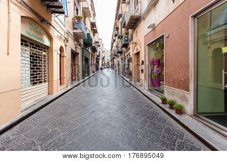 Corso Ruggero Street In Cefalu In Sicily