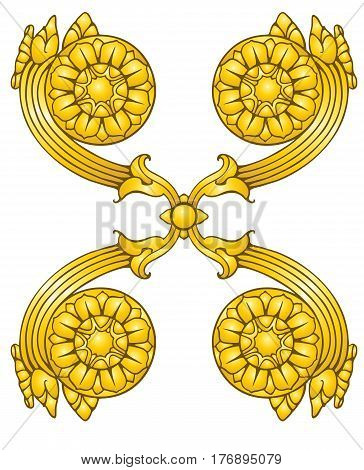 Thai style gilded ornament in golden tones
