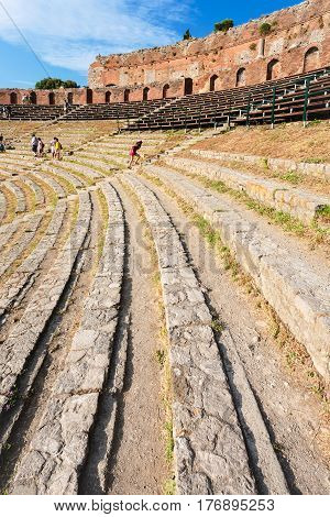 Stone Seats In Ancient Teatro Greco In Taormina