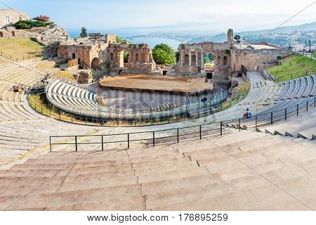 Ancient Greek Theatre In Taormina City