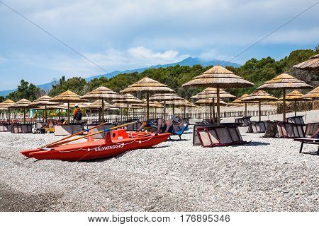 Beach On Ionian Sea Coast And View Of Etna Mount