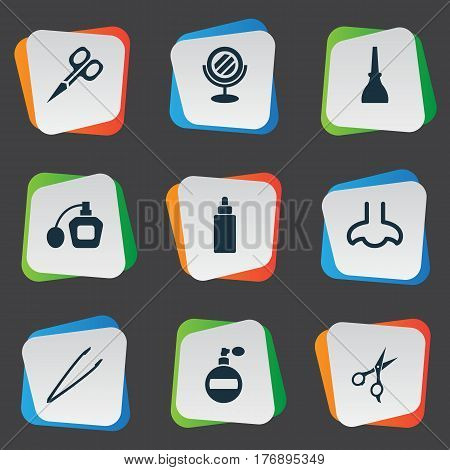 Vector Illustration Set Of Simple Salon Icons. Elements Perfume, Fragrance, Nail Polish And Other Synonyms Bottle, Hairstylist And Perfume.