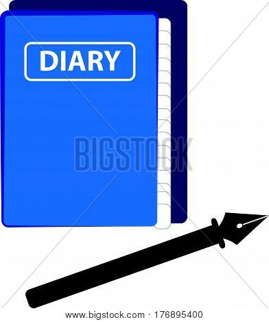 Blue diary on white background. Vector illustration.