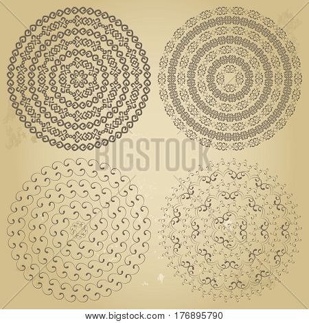 Monochromatic ethnic seamless textures. Round ornamental vector shape isolated on beige. Oriental arabesque pattern background. Vector illustration in brown and beige colors
