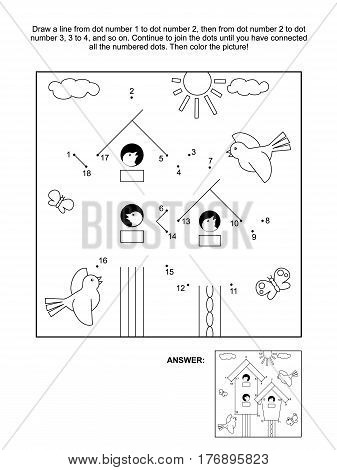 Spring themed connect the dots picture puzzle and coloring page with birdhouses, birds and nestlings. Answer included.