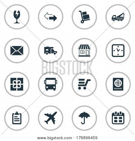 Vector Illustration Set Of Simple Conveyance Icons. Elements Airline, Gift, Caravan And Other Synonyms Trade, Trolley And Board.
