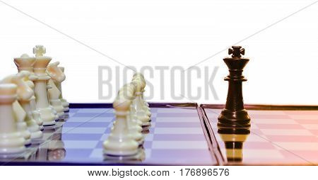 one black king chess fight white team chess