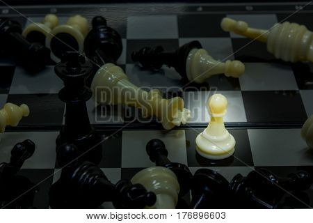 pawn battle black king on the board chess