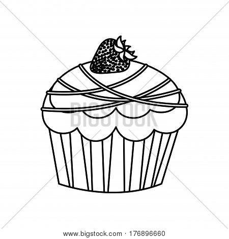 figure muffin with chocolate and strawberry icon, vector illustration design