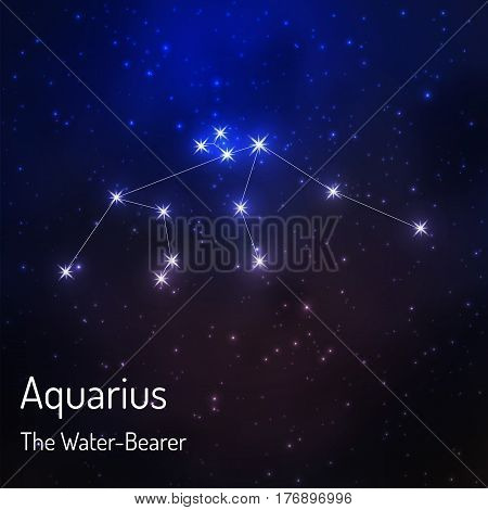 Aquarius the water-bearer constellation in the night starry sky. Vector illustration