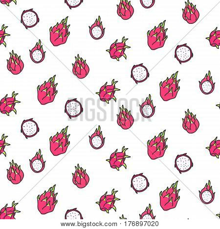 Seamless dragonfruit pattern including sample in swatch panel (ai)